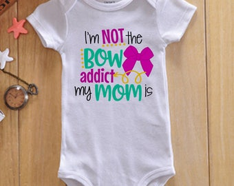 Bow Addict - Funny Little Girl Shirt - Bow Shirt - Pink Bow Shirt - Bow Onesie -