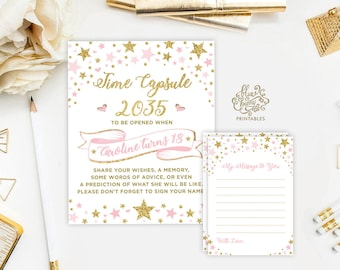 Twinkle Little Star TIME CAPSULE. Pink and Gold First Birthday Party Printable Decor. Baby Girl Shower Decoration. Princess Party. TT2