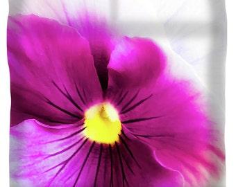 Pink Pansy Duvet Cover,King,Queen,Full,Twin,Designer Fuchsia Floral Duvet,Flower Comforter Cover,Boho Duvet,Bohemian Duvet,Yellow White