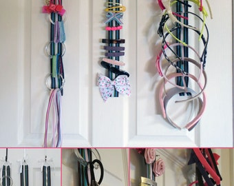 Hair Accessory Organizer System with Elastic - Hair Elastics, Barrettes, Headbands - 342 color combinations