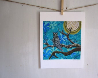 owl print, owl art, owl home decor, teal blue night moon