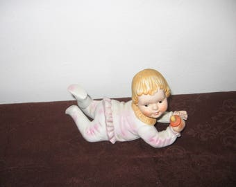 Vintage Piano Baby Doll Holding Pacifier -Porcelain Bisque Pacifier Holding Blonde Piano Baby Doll 3 1/2 x 6