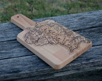 The Lord of the Rings inspired Middle Earth Map chopping board woodburnt by hand