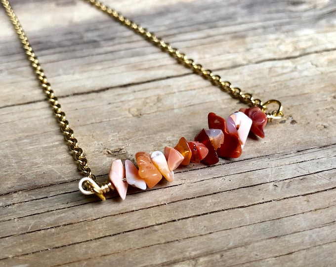 FIRE OPAL: mexican fire opal raw crystal bar necklace
