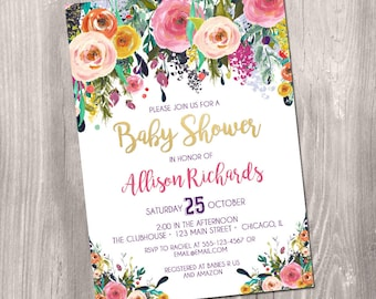 floral Baby shower invitation, baby shower invitation girl, watercolor invitation, floral watercolor, pink, printable invitation