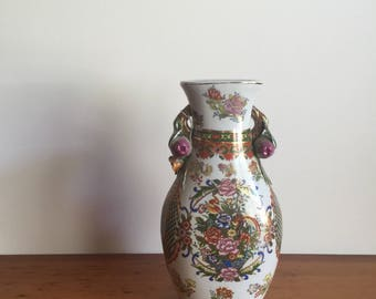 Vintage Porcelain Chinese Vase with Pomegranate Handles
