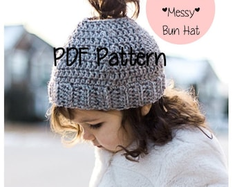Messy Bun Hat Pattern- TODDLER/CHILD, Messy Bun Beanie Pattern, Ponytail Hat Pattern, Crochet, Hats for Ponytails, Messy Bun Crochet, Gray