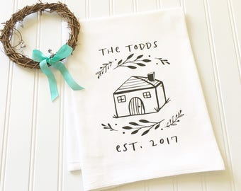 housewarming gift first home new home tea towel customized bridal shower gift newlywed gift custom tea towel hostess wedding gift