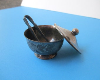 Tiny SACCHARIN SET SILVERPLATE Pot Lid and Tongs, Italian Made With Box, Unique Vintage Collectible