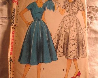 1955 SIMPLICITY Fashion PATTERN One Piece Dress and Jacket