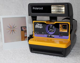 Yellow and Purple Upcycled Polaroid 600 OneStep With Close Up And Flash Built-In