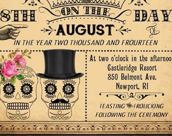 Luella - Printable DIY Victorian Steampunk Wedding Invitation Suite - Day of the Dead Skulls - Customized Wedding Invitation