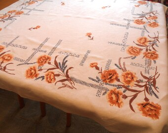 """Carnation tablecloth in gold / vintage 1950 floral tablecloth   50"""" x 52"""""""
