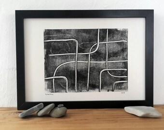 BatonRouge, monoprint, monotype, modern art, abstract art, fine art, print art, black, handprinted