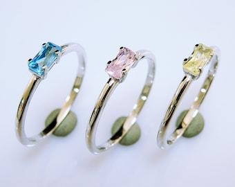 Baguette Ring - Baguette Wedding Band - Swarovski CZ Baguette Ring - Birthstone Ring - Baguette Engagement Ring - Christmas Gift