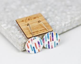 NEW Porcelain Dangle Earrings - Mismatched Earrings Circle Stripe -  ALKIMI - Surgical Steel Kidney Hoop Earrings - Floral Vintage