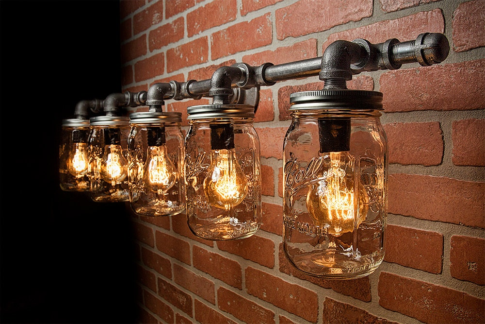 Rustic Industrial Modern Mason Jar Lights Vanity Light: Mason Jar Light Fixture Industrial Light Rustic Light