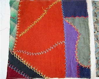 Vintage Quilt Square, Embroidered Patchwork for Pillows or Crafting