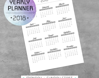 Yearly Planner Printable PDF, 2018 Calendar, Monday Sunday Start, Agenda Template, Planner Pages, A4, A5, Letter, Half-size