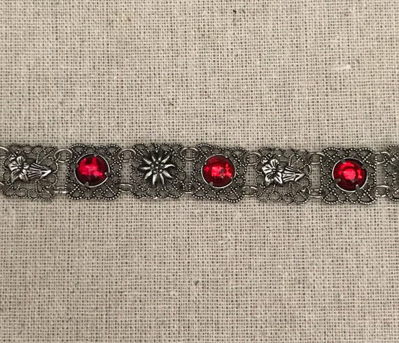 Vintage Alpine Red Stone Edelweiss Silver Charm Link Bracelet 1980's Octoberfest Dirndl Jewelry