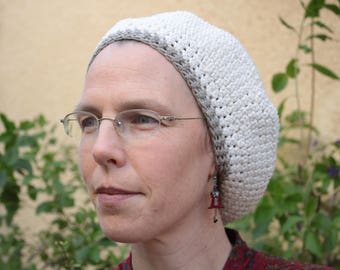 Elegant Cotton Crocheted Hat - Tam - Beret