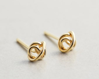 Gold Knot Post Earrings, Metallic Tiny Studs, Love Knots, Bridesmaid Gift, Tie The Knot