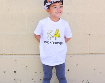 Mac and Fromage Short Sleeved Fine Jersey T-Shirt // Mac and Cheese // Macaroni and Cheese // French Word // Modern Unisex Kid Clothing