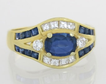 Designer 14K Yellow Gold 1.53ct Genuine Diamond & Blue Sapphire Engagement Ring