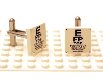 Optician eye test chart cufflinks. Cufflinks made with LEGO(R) bricks. Common Snellen chart Cuff links Cufflink