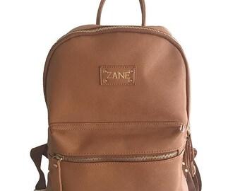 PERSONALISED MONOGRAMMED Baby Bag in Tan Vegan Leather
