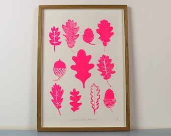 A3 Leaves and Acorns Screenprint