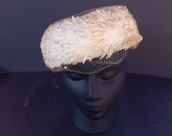 1960s Vintage Peach Flower Turban with Pearl Beads, Velvet Bow, and Netting