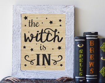 "The Witch Is In, Rustic Burlap Halloween Print, 8""x10"", Instant Download"