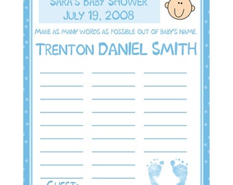 48 Baby Shower NAME GAME Cards  - Personalized