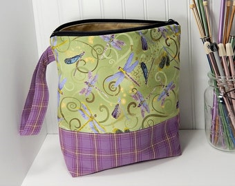 Dragonfly Knitting bag, project bag, knitters gift, knitting pouch, work in progress, purple, gift for knitter