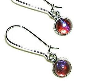 DRAGONS BREATH EARRINGS Dangle Drops Mexican Fire Opal Czech Glass Silver Pltd
