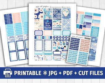 DREAMS TAKE FLIGHT Printable Planner Stickers/for use with Erin Condren/Weekly Kit/Hot Air Balloon Navy Teal Glitter Headers Spring May
