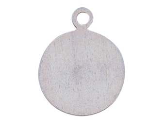 Large Disc with Ring Charm - Sterling Silver (SS Item#C30823)