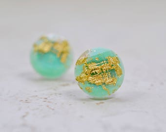 Mint Green and Gold Flake 12mm Stud Earrings, Simple Minimal Jewelry, Light Plastic Studs, Checkerboard Cut Posts