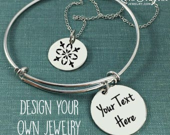 Personalized Jewelry, Engraved Charms, Sterling Silver Jewelry, Stainless Steel Jewelry, Engraved Jewelry, Silver Disc, 3/4 inch