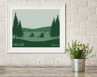 Gift for Paddlers, Gift for Outdoor Couple, Kayaking Art, Engagement Gift for Kayaker, Kayak Couple, Custom Kayak Poster, Kayaking Gift