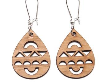 Bauble Bamboo Dangle Earrings, Boho Earrings, Bauble Earrings, Wooden Dangles, Laser Cut Jewelry, Eco Friendly Gift, Large Tear Drop Dangles