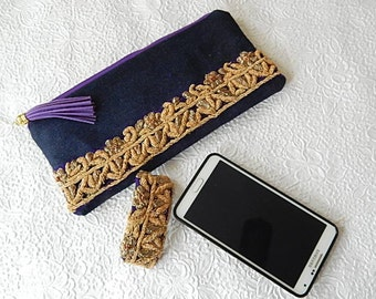 Denim purse, beaded purse,  gold beaded pouch, fabric purse, zippered pouch, fashion accessory, womens accessory