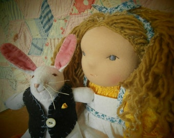 Alice in Wonderland with the White Rabbit, Waldorf Doll and Bunny
