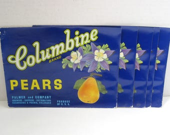 Vintage Columbine Fruit Crate Can Labels Colorado Pears