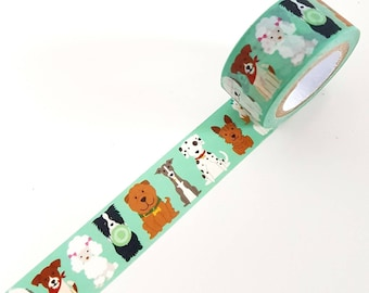 Dog Puppy Green Washi Tape - Full Roll