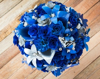 Wooden Flowers- Royal Blue  Silver Wood and Cornhusk Bouquet for Wedding and Centerpiece, Mother's Day Gift, Prom Bouquet, Birthday Bouquet