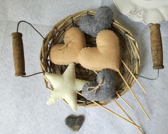 Hearts star felt 4 + 1 wedding Heart decorations home decor felt heart toothpick Christmas gift