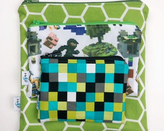 Reusable snack bag sets baggies eco friendly lunch bags toy bags storage minecraft pixels square cube computer game