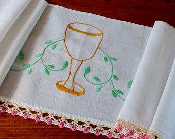 Vintage Linen Shelf Trim Hand Embroidered Crochet Wine Glass Goblet Unusual Green Pink Gold